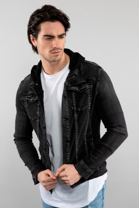 Jacheta de blug gri inchis cu gluga Frilivin - 1