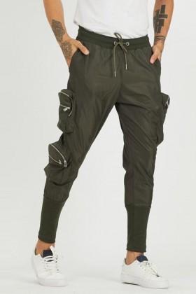 Pantaloni cargo kaki, din fas, buzunare laterale mari  - 1