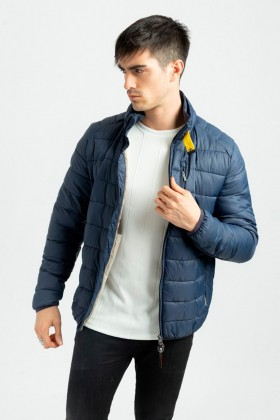 Jacheta casual bleumarin din fas cu gulerul inalt Frilivin - 1