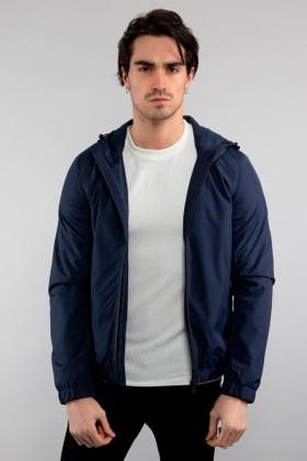 Jacheta bleumarin din fas, cu gluga