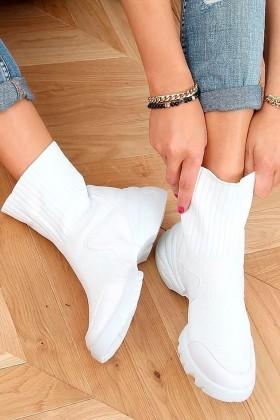Sneakers albi inalti din material textil si talpa groasa  - 1
