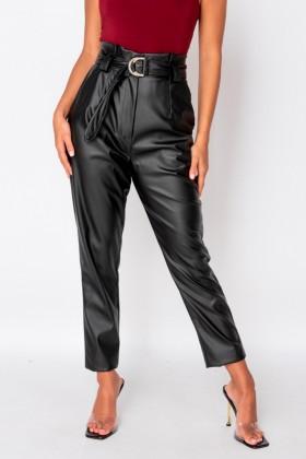 Pantaloni negri casual din piele ecologica, curea in talie Parisian - 1