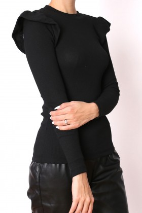 Bluza neagra cu volane la umeri  - 1