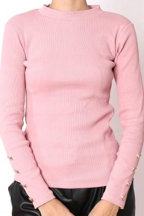 Bluza roz cu nasturi aurii  - 1