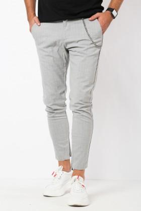 Pantaloni casual gri cu dungi albe, fermoar la glezne si accesoriu  - 1