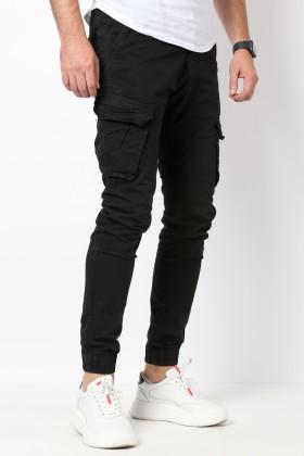 Pantaloni cargo negri Frilivin - 1