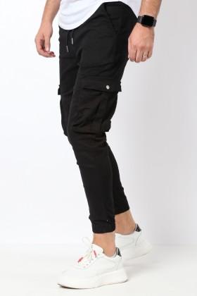 Pantaloni cargo negri, snur in talie si buzunare cu capse Frilivin - 1