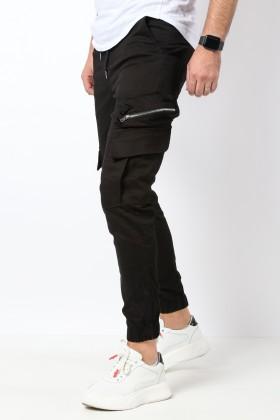 Pantaloni cargo negri cu snur in talie Frilivin - 1