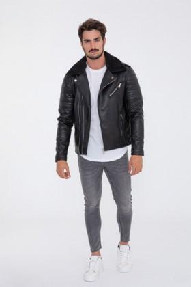 Jacheta neagra piele ecologica stil biker cu guler din blana Frilivin - 1