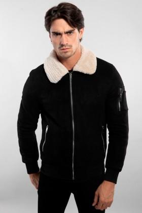 Jacheta neagra din material catifelat cu guler din blana alba Frilivin - 1
