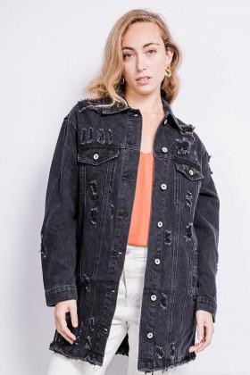 Jacheta din denim lunga, neagra cu rupturi  - 1