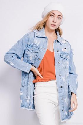 Jacheta din denim lunga, albastra cu rupturi  - 1