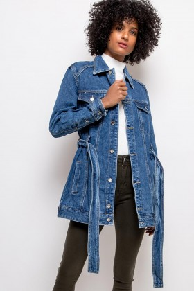 Jacheta din denim albastra, lunga cu cordon  - 1