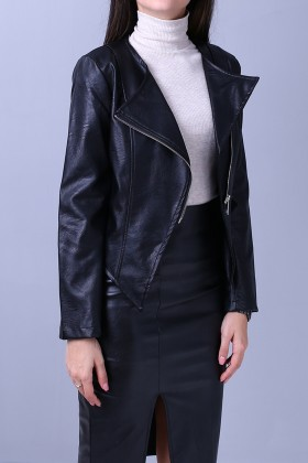 Jacheta casual, din piele ecologica neagra, in V  - 1
