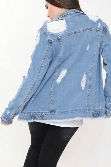 Jacheta din Denim cu Rupturi  - 2