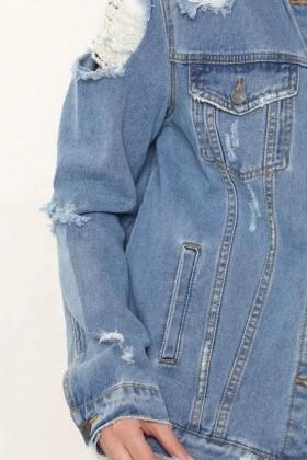 Jacheta din Denim cu Rupturi  - 3