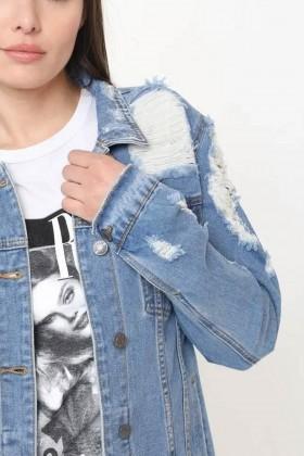 Jacheta din Denim cu Rupturi  - 4