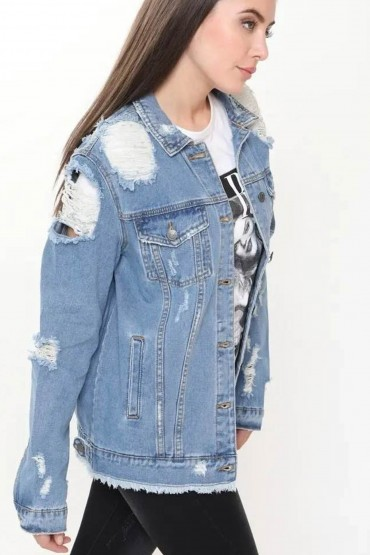 Jacheta din Denim cu Rupturi  - 5