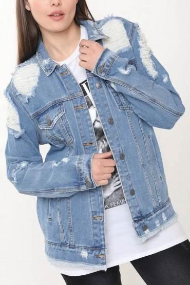 Jacheta din Denim cu Rupturi  - 1