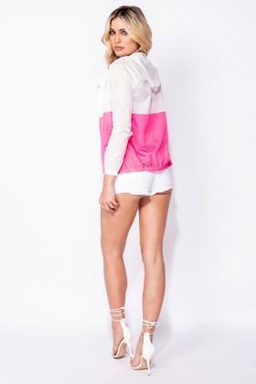 Jacheta alba sport, subtire, alb cu roz Parisian - 3