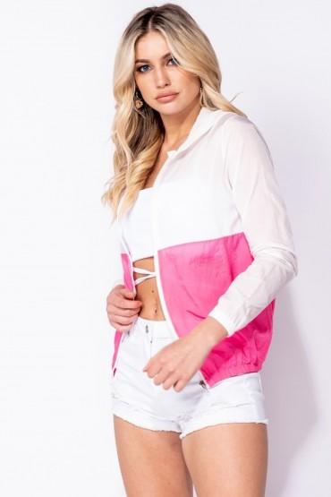 Jacheta alba sport, subtire, alb cu roz Parisian - 4