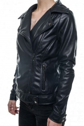 Jacheta neagra din piele ecologica stil biker  - 2