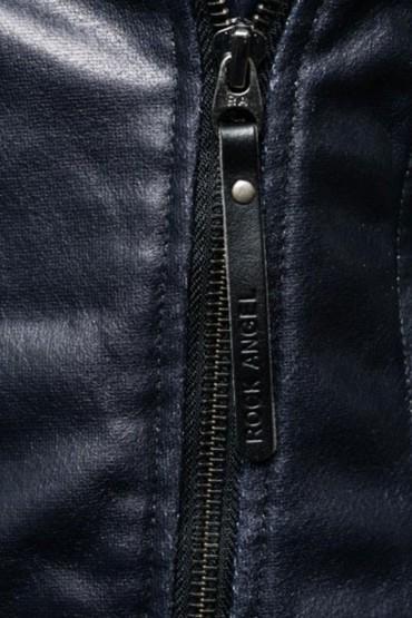 Jacheta neagra din piele ecologica stil biker  - 3