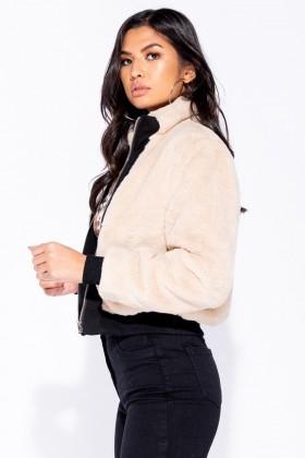 Jacheta scurta din blanita crem Parisian - 5