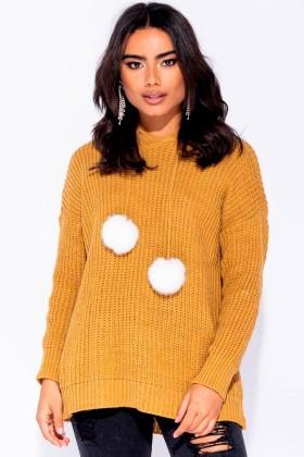 Pulover tricotat mustar cu ciucurei albi si gluga  - 1